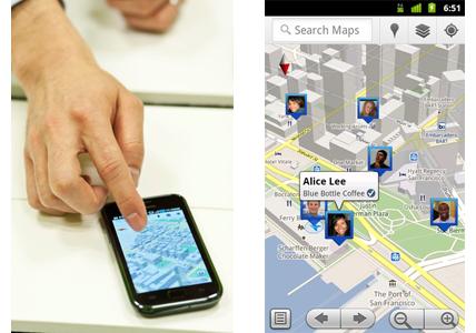 (左)Android版モバイルGoogleマップで利用できる3D地図、(右)Google Latitude(※Googleサイトより転載)