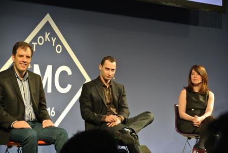 左から、Facebook アジアパシフィック担当副社長 エリク・ジョンソン氏。Facebookエンジニアリングディレクターで広告システムの総責任者 マーク・ラブキン氏。グローバル・マーケティングコミュニケーションの総責任者ヘザー・フリーランド氏。