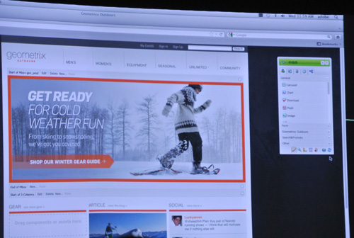 CQ 5.5では、ドラッグ&ドロップで簡単にウェブコンテンツを作成可能<br />     寒い地方なら雪山のイメージをフィーチャーし、温かい地方ならまったく違う写真を自動表示する
