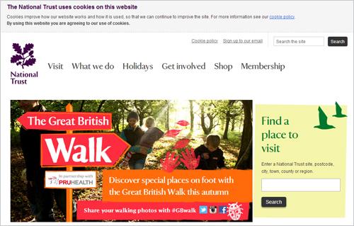英国ナショナルトラストのサイトでは、トップページの上部にCookieの使用についての確認メッセージが表示される