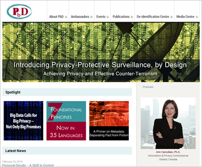 Privacy By Designのサイト。右側の写真はアン・カブキアン博士
