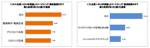 2014年に最も効果があったと感じた施策(左:中小企業、右:大企業)