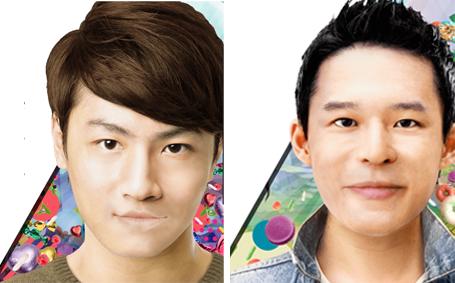 画像左:平均的な「ワニ顔女子力男子」、画像右:平均的な「犬顔昭和男子」