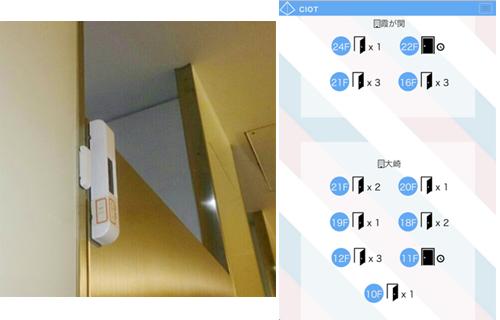 トイレのドアにセンサーを設置し、スマートデバイスで空き状況を確認