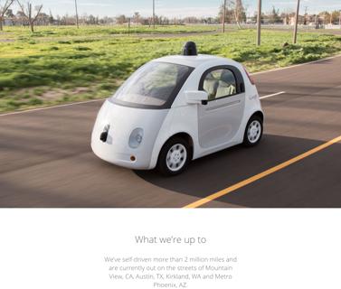 Googleが開発を進める自動運転カー(https://www.google.com/selfdrivingcar/より)ルーフに搭載された、カメラを含むセンサーが捉えられる情報を最大化するために丸みを帯びた形状となっている。また、車内空間も「運転(Driving)ではなく、乗る(Riding)ためにデザインされている」とGoogleは強調する。