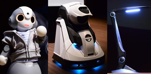 左から人工知能KIBITを搭載したロボット「Kibiro」、「ライブシェル」、「ルミジェント」。パネルのゲストとして登場してくれた