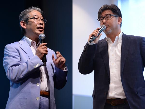 左から、日本郵便株式会社 郵便・物流営業部 担当部長 鈴木睦夫氏 株式会社グーフCEO 岡本幸憲氏