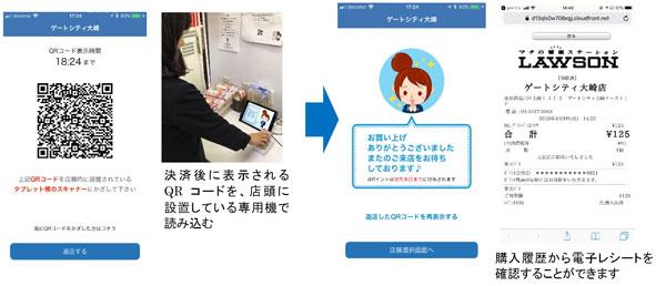 イメージ画面:退店QRコード表示~退店~レシート表示