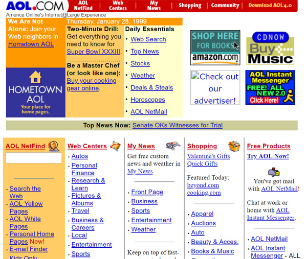 1999年頃のAOL.com(Internet Archive)