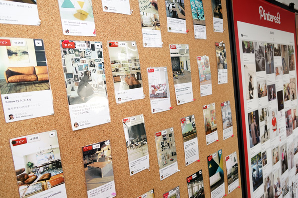 """ピンタレスト・ジャパンのオフィスデザインを考える際に集められた""""Pin"""""""
