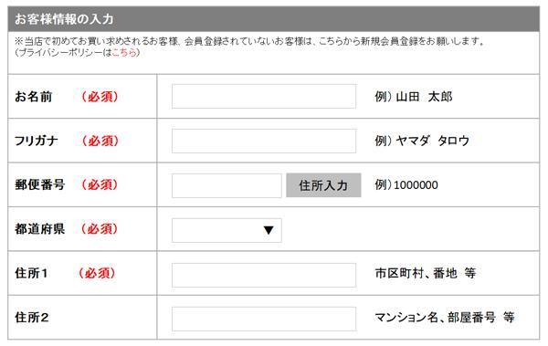 日本特有の入力フォーム項目例