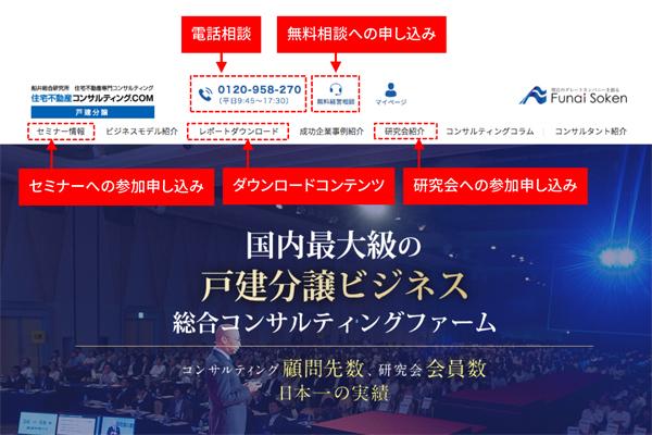 船井総研の住宅不動産専門コンサルティング専用Webサイト(囲みは筆者による)