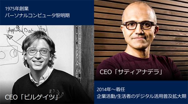 マイクロソフト2人のCEO(当日の投影資料より/以下同)