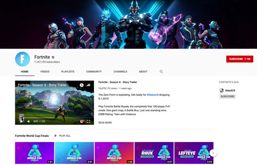 YouTube「フォートナイト」公式チャンネルhttps://www.youtube.com/user/epicfortnite