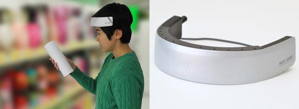 脳血流測定を活用した購買行動分析調査の様子(左の写真)と、NeUが開発した携帯型脳活動測定装置「HOT-2000」(右の写真)