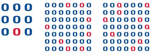 図1.2.2 ピンクの「O」はそれぞれいくつ?