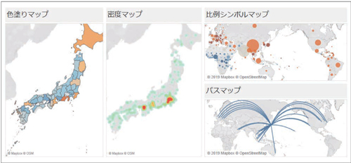 図1.2.9 地理的な特徴を表すにはマップを利用する