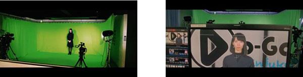 YouTube配信の撮影現場はグリーンバック。配信時はクロマキー合成で背景を演出