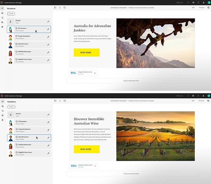 Snippetsの利用イメージ。ユーザーに応じてタイトルやアイキャッチ画像まで変えられる