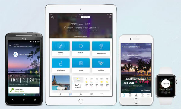 ヒルトン・オナーズ・アプリでは、4,900軒以上のホテルとリゾートでチェックインや部屋の選択などが可能になる