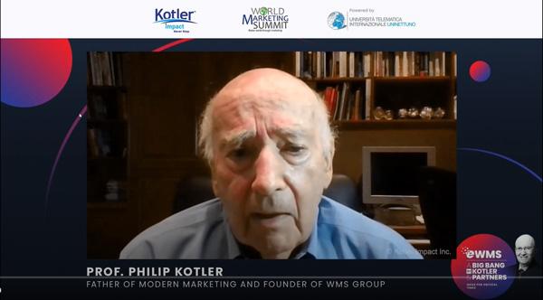 講演を行ったフィリップ・コトラー氏。マーケティング&イノベーションの世界的権威として知られる。ノースウェスタン大学経営大学院で教授を務め、多くのグローバル企業経営者に影響を与えている。主な著書に『コトラーのマーケティング講義』『コトラーのマーケティング 4.0』など。