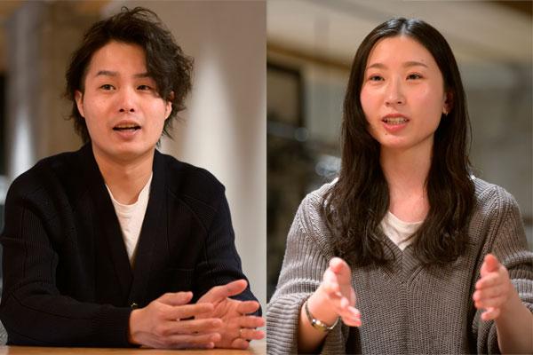 (左から)Skyfall 代表取締役社長 長谷川智一氏、Skyfall 広告事業本部 メディア局 保立千春氏
