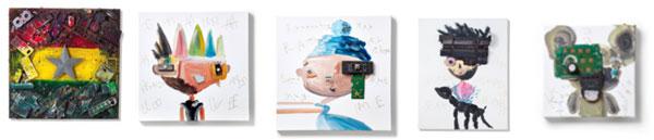 MAGO GALLERY AOYAMAに展示される、電子廃棄物を活用して制作された作品