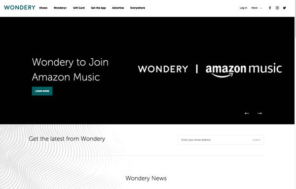 Wonderyウェブサイト https://wondery.com/