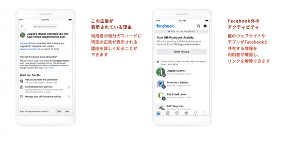 Facebook社では広告の表示説明やオプトアウトの提供を進めている(タップで画像拡大)