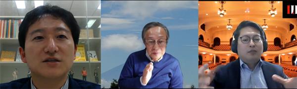 左から酒井崇匡氏、古川一郎教授、上原渉准教授