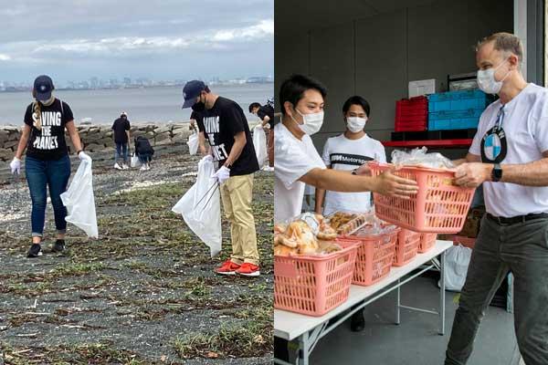 (左)イオンモール幕張新都心主催で実施された「ビーチクリーン活動」に参加(右)フードバンク団体「セカンドハーベスト・ジャパン」と共同で食糧物資を運搬・配布。BMWは車両とドライバーを提供している