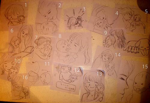 [「子育てマイアルバム」のコンセプトイラストを手伝ってくださった一人、イラストレーター平野樹さんのイラストの一部。)
